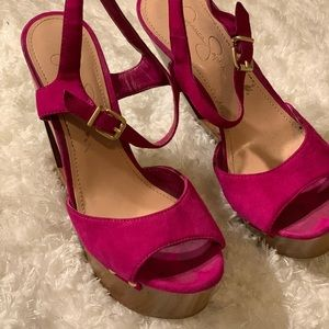 Jessica Simpson pink wedge triangle cut out heel.
